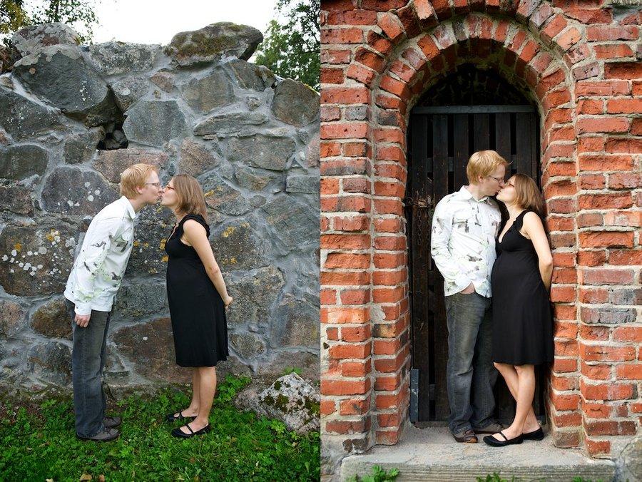 Hanna ja Jukka suukottelevat Birgitan kirkon raunioilla