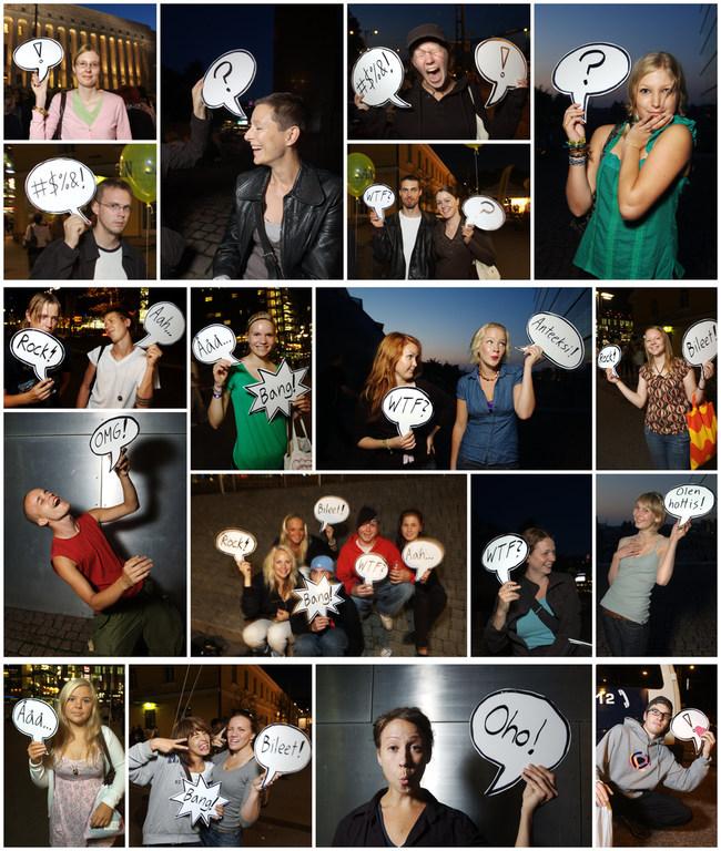 Ihmisiä ja puhekuplia Taiteiden yöstä 2007